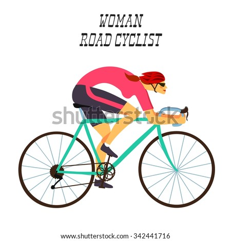 Girl racing cyclist in action. Fast road biker woman. Editable vector illustration.