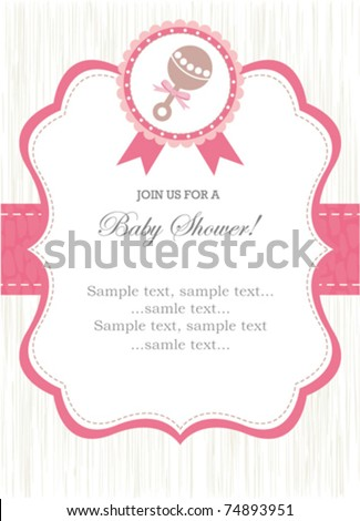 Girl rattle shower invitation - stock vector