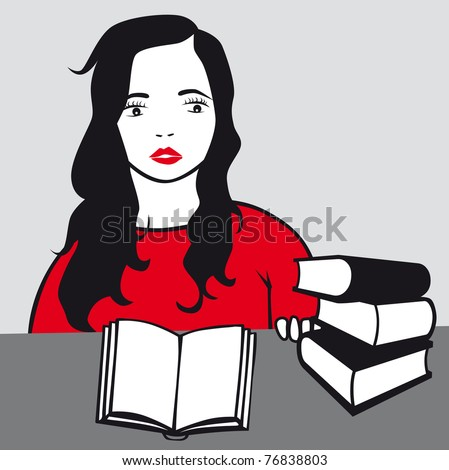 girl read book vector illustration