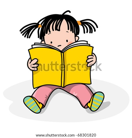 girl reading a book, isolated on white,  see also similar with a boy - stock vector