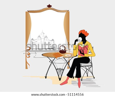 Girl  reading and drinking coffee in the cafe - stock vector