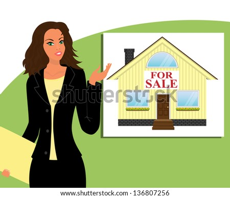 """Girl realtor shows a house with a sign """"for sale"""" - stock vector"""
