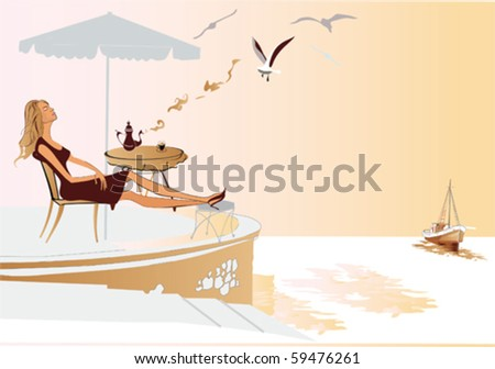 Girl relaxing at the sea cafe - stock vector