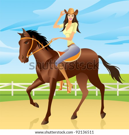 Girl riding a horse in Western style  - vector illustration - stock vector