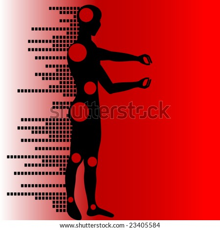 girl robot (use with or without circles) - stock vector