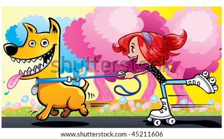 Girl rollerskating walking the dog in the park - stock vector