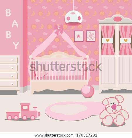 Girl room - stock vector