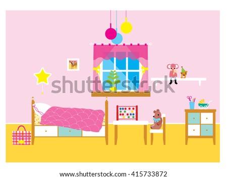 Girl room interior. Children room design. Cute girlie room. Girl room interior Vector. Girl room interior illustration. - stock vector