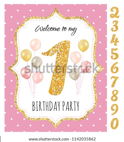 Girls birthday invitation birthday party set stock vector 1142035862 girls birthday invitation birthday party with set of gold glitter numbers printable vector template stopboris Choice Image