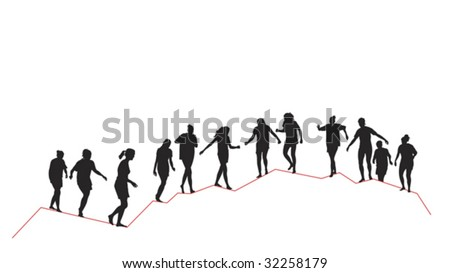 girl's team reaching the top - stock vector