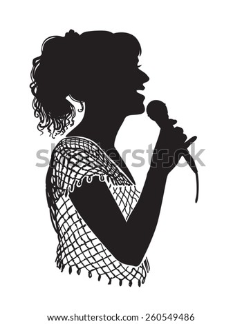 Girl singing with microphone on the stage, in the karaoke club.  - stock vector