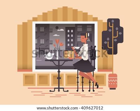 Girl sit in cafe - stock vector