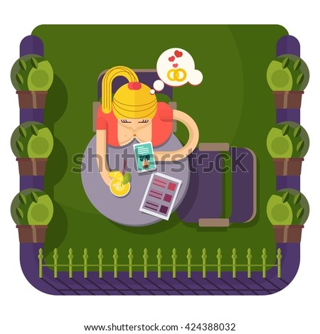 Girl sits at a table in a cafe.Objects isolated on a background. Flat vector illustration. - stock vector