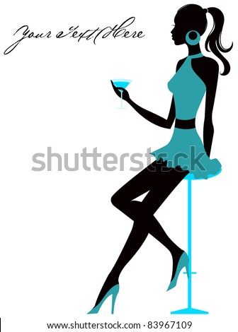 Girl sits in bar with glass in hand. Vector illustration - stock vector
