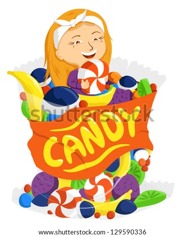 Girl sitting in a bag of giant candies