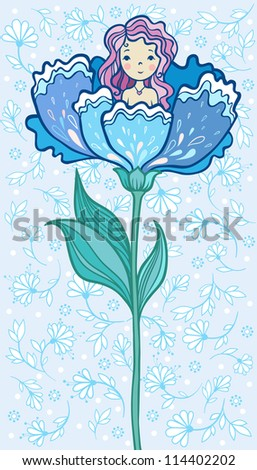 Girl Sitting in a Big Flower. Fairy Tale. - stock vector