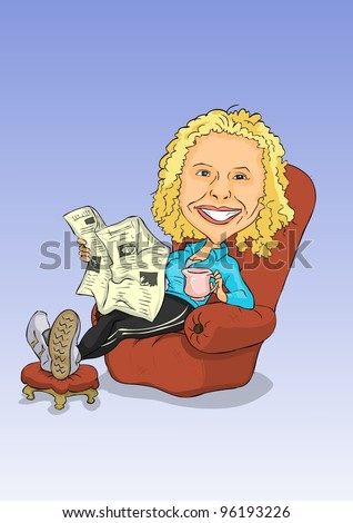 Girl sitting in easy chair reading a newspaper - stock vector