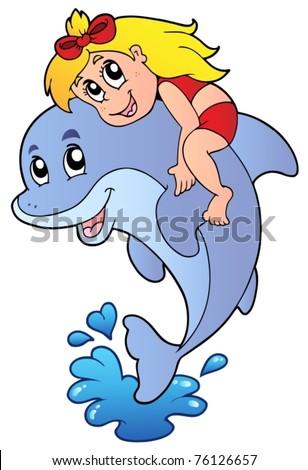 Girl sitting on dolphin - vector illustration. - stock vector