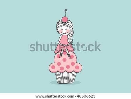 girl sitting on giant cupcake - stock vector