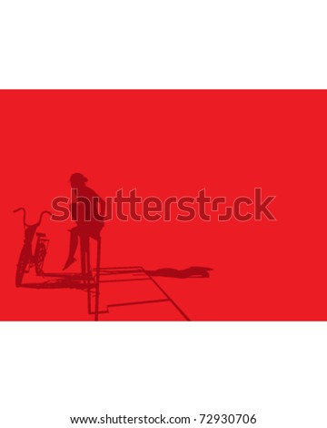 girl sitting on railings with bicycle at sunset - stock vector