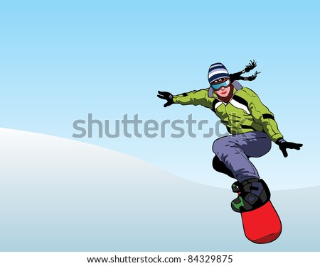 Girl snowboarder downhill vector image - stock vector