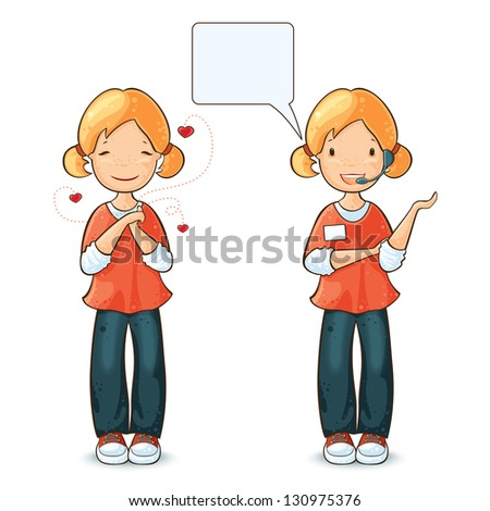 Girl speaking by headset with speech bubble and  girl in love. - stock vector