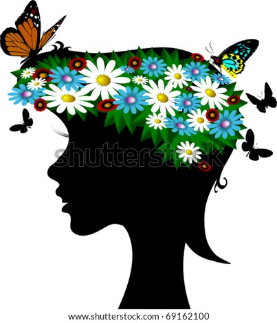 girl-spring with a wreath of wild flowers on the head; - stock vector