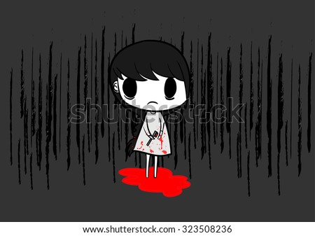 girl suicide by slit hand - stock vector