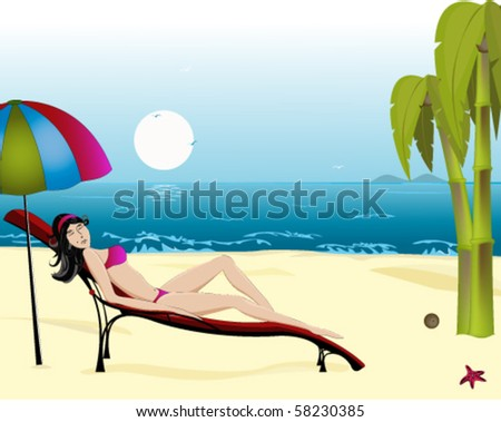 girl sunbathes in a chaise lounge - stock vector