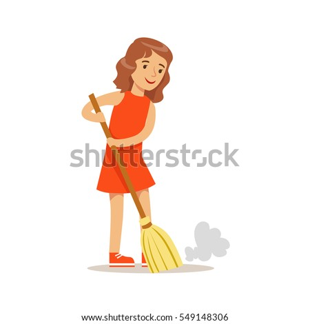 Exceptional Girl Sweeping The Floor With The Broom Smiling Cartoon Kid Character  Helping With Housekeeping And Doing