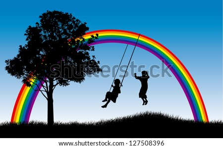 Girl swinging and boy jumping under rainbow - stock vector