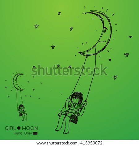 girl swinging on a moon, drawing by hand from imagination,Vector illustration - stock vector