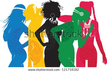 girl symbolizing different sides of the world - stock vector