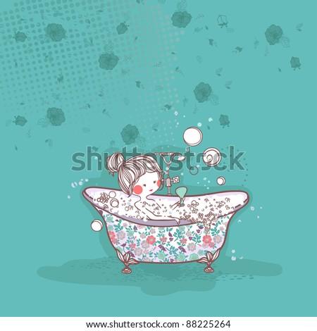 girl taking bath - stock vector