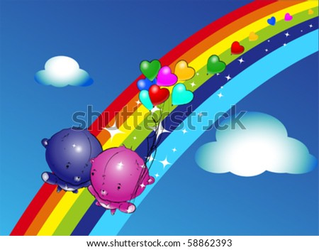 Girl Teddy Bear Hanging from a Balloons, vector