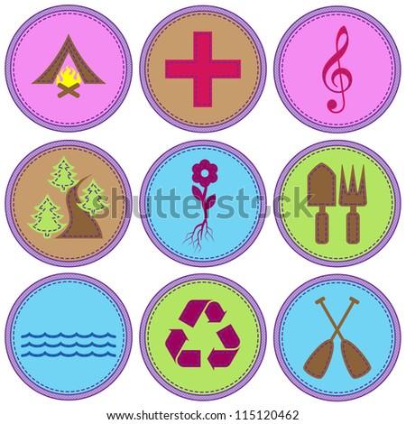 Girl Themed Merit Badges - stock vector