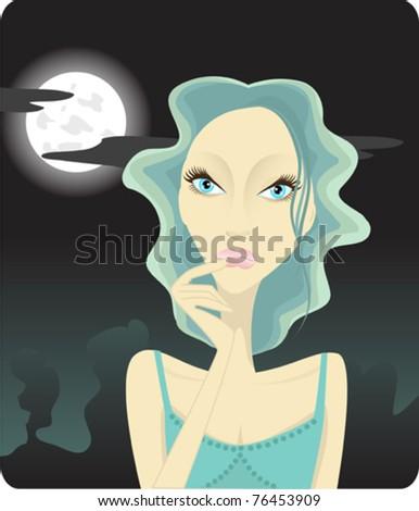 Girl thinking on the moon light - stock vector