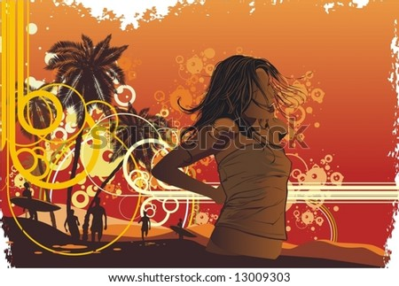 girl,tropical island, palm trees on a beach - stock vector