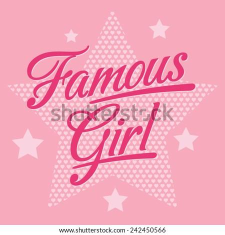 Girl typography, t-shirt graphics, vectors - stock vector
