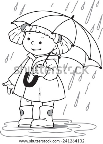 Girl under an umbrella. Little girl in a raincoat and rubber boots hiding under an umbrella from the rain. Coloring page - stock vector