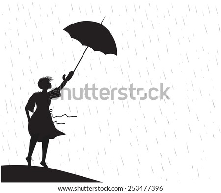 girl under the rain holding umbrella, strong wing is blowing, silhouette