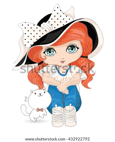 girl vector / T-shirt print / white cat vector / cartoon character design  / love themed book illustration / funny animal mascot / cute girl sitting - stock vector