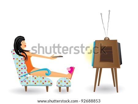 girl watching tv after work. Vector illustration.