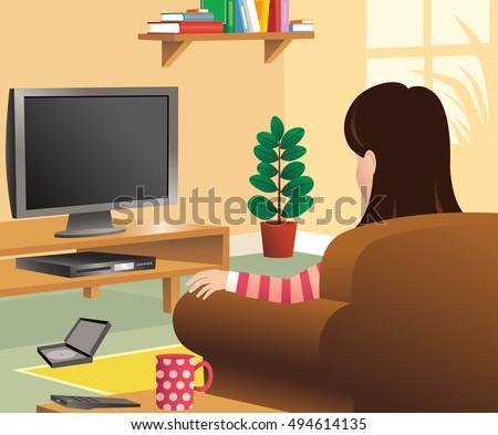 Cartoon girl watching tv