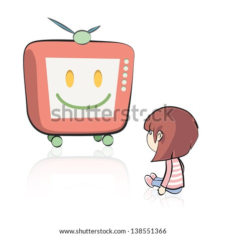 Girl watching TV on isolated background. Vector design. - stock vector