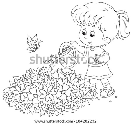 girl watering flowers on a flowerbed  - stock vector