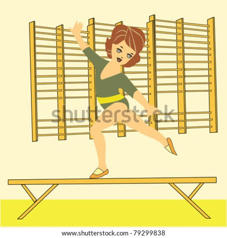 girl who makes gymnastics - stock vector