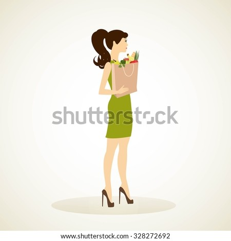 Girl with a bag full of groceries - vector illustrator isolated. Woman shopper. - stock vector