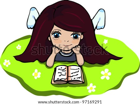 Girl with a book on the grass. Vector. - stock vector