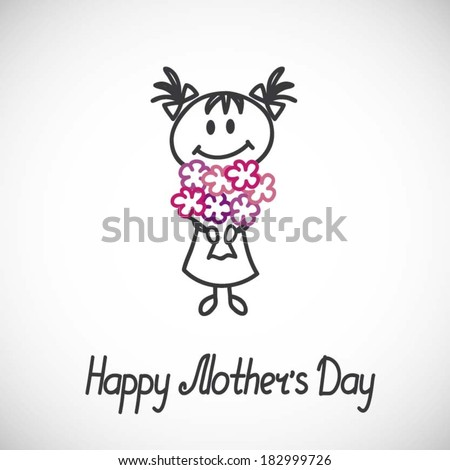 girl with a bouquet of flowers (cartoon doodle).Happy mothers day card - stock vector